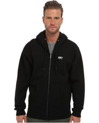 Obey Worldwide Zip Hood Fleece - Lyst