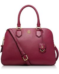 Tory Burch Robinson Pebbled Triple Zip Satchel - Lyst