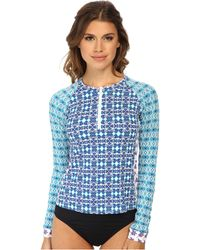 Tommy Bahama Kaleidoscope Zip Long Sleeve Rashguard Cover-Up - Lyst