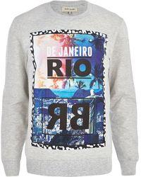 River Island Ecru Rio Beach Print Sweatshirt - Lyst