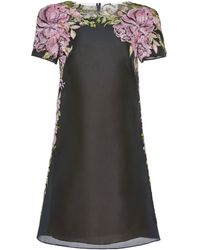 Marchesa Floral Embroidered Organza Shift Dress - Lyst