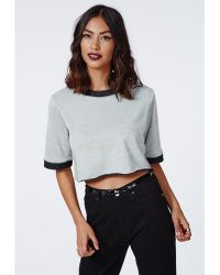 Missguided Emma Cropped Contrast Rib Sweater  - Lyst