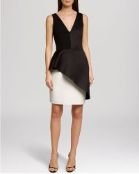 Halston Heritage Dress Sleeveless Color Block Asymmetric Peplum - Lyst