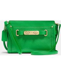 Coach Swagger Wristlet In Pebble Leather - Lyst