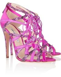 Brian Atwood Zoe Satin Leather and Snakeskin Sandals - Lyst