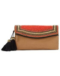 Vince Camuto 'Bessy' Beaded Leather Clutch - Lyst