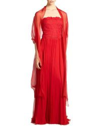 Tadashi Shoji Embroidered Tulle & Silk Gown - Lyst