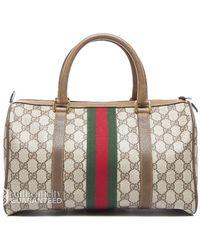 Gucci Preowned Beige Monogram Canvas Webbed Vintage Boston Bag - Lyst