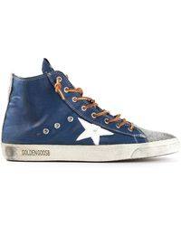 Golden Goose Deluxe Brand Blue Hi-top Sneakers - Lyst