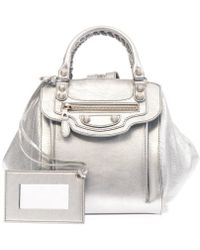 Balenciaga Giant Leather Backpack silver - Lyst