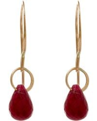 Melissa Joy Manning - Small Gold And Ruby Single Drop Earrings - Lyst