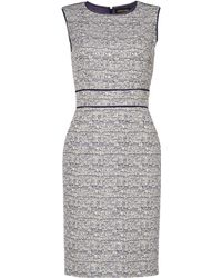 Jaeger Lurex Tweed Shift Dress - Lyst
