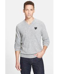 Comme des Garçons Wool V-Neck Sweater With Heart Applique - Lyst