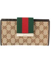 Gucci Beige Logo Wallet - Lyst