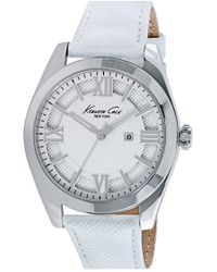 Kenneth Cole | Textured Dial Leather Strap Watch | Lyst