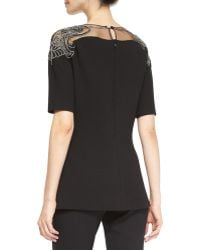 Lela Rose Elbowsleeve Embroideredtop Blouse - Lyst