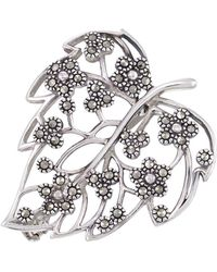Lord & Taylor | Sterling Silver And Marcasite Filigree Leaf Pin | Lyst