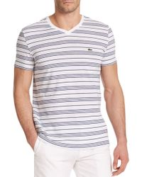 Lacoste Striped Cotton V-Neck Tee white - Lyst