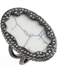 House of Harlow 1960 - 1960 'tanga Coast' Cocktail Ring - Gunmetal/ Howlite - Lyst