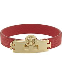 Tory Burch Turnlock Leather Bracelet - Lyst