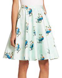 Alice + Olivia Earla Pleated Flared Skirt blue - Lyst
