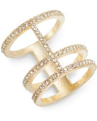 Cara - White Stone Stacked Band Ring/goldtone - Lyst