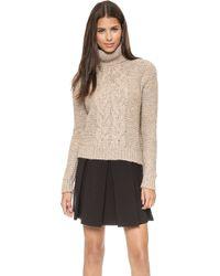 Rachel Zoe - Nicola Fuinnel Neck Cable Sweater - Camel - Lyst