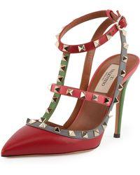 Valentino Rockstud Multicolor Slingback Sandal - Lyst