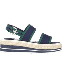 Prada Bi-Color Double-Band Platform Espadrilles - Lyst
