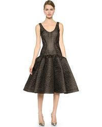 Zac Posen Embroidered Organza Dress Blacknude - Lyst