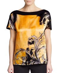Versace Scroll-Front Short-Sleeve Top - Lyst