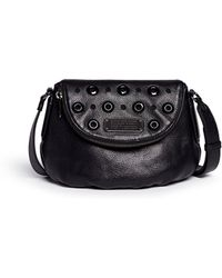 Marc By Marc Jacobs 'New Q Mini Natasha' Grommet Perforated Leather Hobo Bag black - Lyst