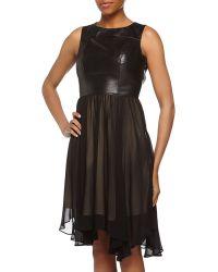 Nicole Miller Sleeveless Fitandflare Leather Dress - Lyst
