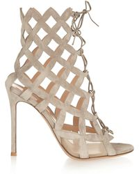 Gianvito Rossi Cutout Suede Sandals - Lyst