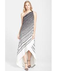 Halston Heritage Stripe One-Shoulder Georgette A-Line Gown - Lyst