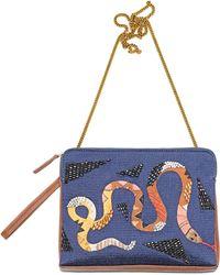 Lizzie Fortunato Safari Clutch In Rattlesnake blue - Lyst