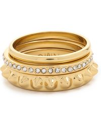 Rebecca Minkoff | Three Band Ring Set - Gold/clear | Lyst