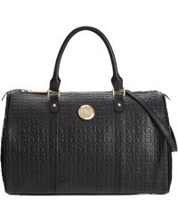 Tommy Hilfiger Quinn Debossed Leather Convertible Satchel - Lyst