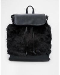 Asos Fur Backpack black - Lyst