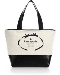 Kate Spade Heritage Two-Tone Canvas & Leather Tote black - Lyst