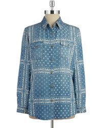 Thread & Supply - Printed Chambray Shirt - Lyst