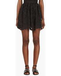 MSGM Black Laser_cut Floral Circle Skirt - Lyst