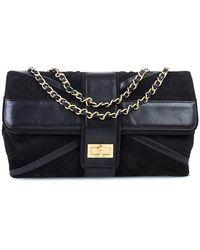 Chanel Pre-Owned Black Suede Union Jack Shoulder Bag - Lyst
