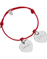 Merci Maman - Personalised Two Sterling Silver Hearts Bracelet - Lyst