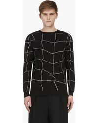 J.W. Anderson Black Modified Window Pane Check Sweater - Lyst