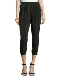 Helmut Lang Ruched Waist And Ankle Pants - Lyst