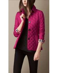 Burberry Diamond Quilted Jacket in Pink | Lyst : burberry purple quilted jacket - Adamdwight.com