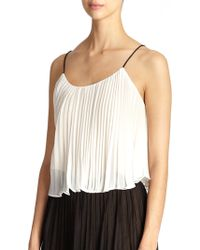 ABS By Allen Schwartz Pleated Crop Camisole white - Lyst