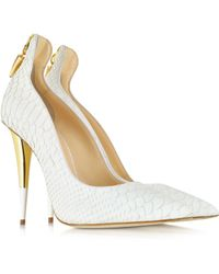 Giuseppe Zanotti White Croco Embossed Leather Pump - Lyst