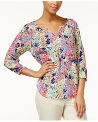 American Living - Floral Printed Split Neck Top - Lyst